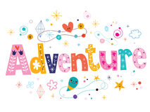 Word adventure decorative type lettering text design Royalty Free Stock Photo