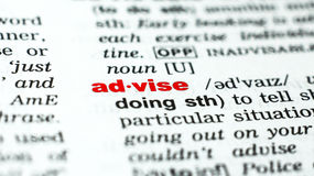 Word advise in dictionary. Definition of word advise in dictionary royalty free stock photos