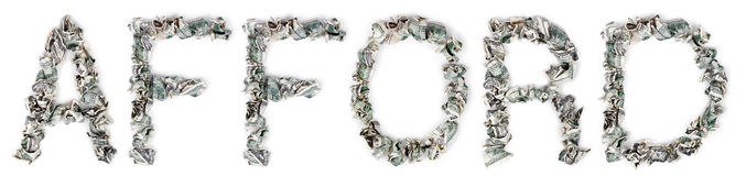 Afford - Crimped 100$ Bills. The word 'afford', made out of crimped 100$ bills Stock Photos