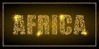 Word Afrique Police décorative avec des remous et des éléments floraux Lettres d'or avec des étincelles illustration libre de droits