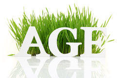 Word Age with fresh grass Royalty Free Stock Photo