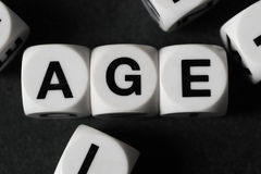 Word age on toy cubes Royalty Free Stock Photos