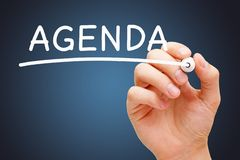 Word Agenda Handwritten With White Marker stock photography