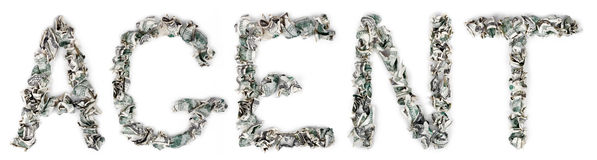 Agent - Crimped 100$ Bills. The word 'agent', made out of crimped 100$ bills Stock Photos