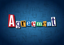 The word Agreement made from cutout letters. On a blue background Royalty Free Stock Photography