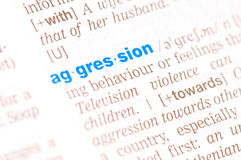 Word agression. In english dictionary Royalty Free Stock Photos