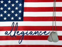 Word allegiance and dog tags Royalty Free Stock Photo