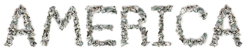 America. The word 'america', made out of crimped 100$ bills Stock Photo