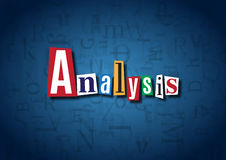 The word Analysis made from cutout letters. On a blue background Stock Photo