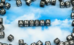 The word Angina. On the sky background Royalty Free Stock Photos