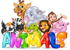 Word animal with cartoon wild animal Stock Photos