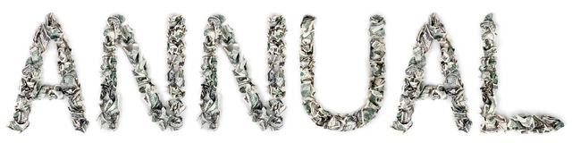 Annual - Crimped 100$ Bills. The word 'annual', made out of crimped 100$ bills Stock Photography
