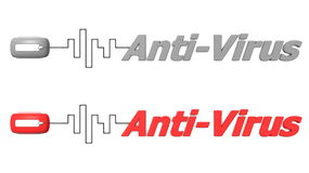 Word Anti-Virus Connected to a Mouse. Modern computer mouse connected to the word Anti-Virus via digital waveform cable - mouse and word both in grey and red vector illustration