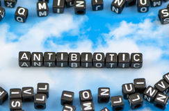 The word Antibiotic. On the sky background royalty free stock image