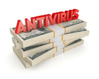 Word ANTIVIRUS on a stack of dollars. Stock Photos