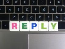 Word Antwoord op toetsenbordachtergrond Royalty-vrije Stock Foto