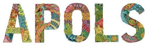 Word apols met dalende bladeren Vector decoratief zentanglevoorwerp Stock Foto's