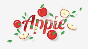 Word apple design decorated with red apple fruits and leaves in paper art style. Vector , illustration Royalty Free Stock Photo