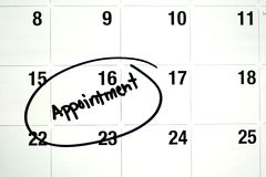 Word Appointment Circled on Calendar Royalty Free Stock Photos