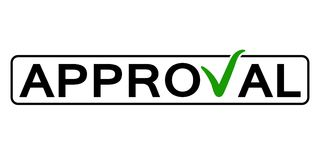 Word approval with the green checkmark instead the letter V, vector concept consent, approval, endorsement consideration stock illustration