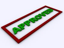 The word APPROVED in 3D. With a red frame Royalty Free Stock Images