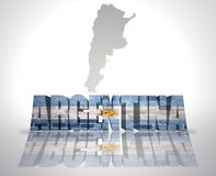 Word Argentina on a map background Stock Photo