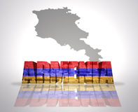Word Armenia. With National Flag near map of Armenia royalty free stock images