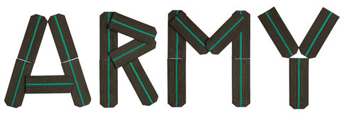 Word ARMY from epaulets. Word ARMY epaulets compound green letters military Stock Image
