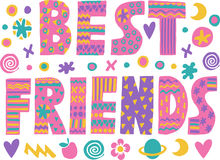 Word art Best Friends. Lettering with colorful flowers and decorative elements. on white background.Quote design.Drawing for prints on t-shirts and bags or stock illustration