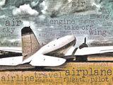 Word art illustration of a DC-3 transport aircraft Stock Photography