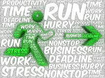 Word art illustration of a running human followed by an arrow Royalty Free Stock Image