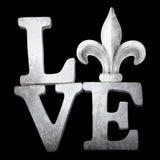 Word Art Love met Fleur de Lis Royalty-vrije Stock Foto's