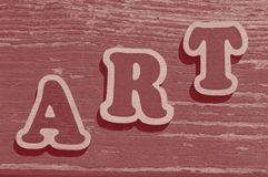Word art made of wooden letters. On wooden board stock images