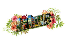 Word Art New Orleans Vintage Postcard Stock Photo