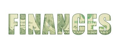 Currency pattern in word representing FINANCES. Word art representing money, cash, greenback, hundred dollar bill with Ben Franklin etching stock illustration