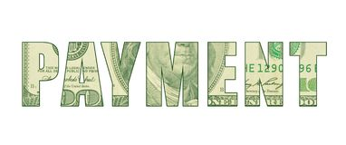 The word `PAYMENT` with the pattern of money. Word art representing money, cash, greenback, hundred dollar bill with Ben Franklin etching royalty free illustration