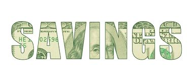 The word `SAVINGS` with the pattern of money. Word art representing money, cash, greenback, hundred dollar bill with Ben Franklin etching vector illustration