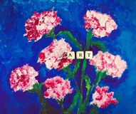 Word art of beads on the picture. Hand drawn carnation flowers on bright blue background. Picture made by oil on cardboard. Stock Image