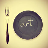 Word art written in a plate, with a retro effect Stock Photos