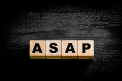 Word ASAP -  As soon as possible Stock Image