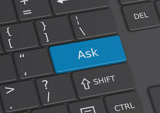 The word Ask written on the keyboard Royalty Free Stock Photos