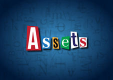 The word Assets made from cutout letters. On a blue background Stock Photo