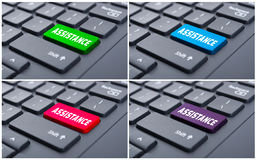 Word assistance on laptop keypad. As online help concept Stock Photo