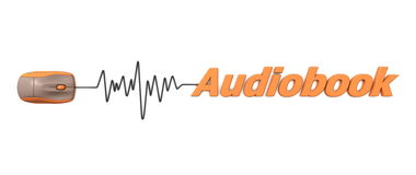 Word Audiobook with Mouse - Orange. Computer mouse connected to the word audiobook via sine waveform cable - orange Stock Image
