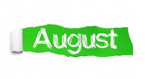 The word August appearing behind green torn paper.  royalty free illustration