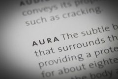 The word Aura close up on paper.  Stock Images