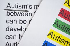 Word Autism different color. Newspaper article and word Autism underlined with black marker Stock Images