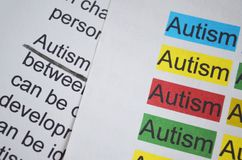 Word AUTISM different color. Newspaper article and word AUTISM underlined with black pencil Royalty Free Stock Photography