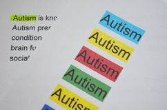 Word AUTISM different color. Newspaper article and word AUTISM underlined with green marker Royalty Free Stock Photography