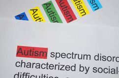 Word AUTISM different color. Newspaper article and word AUTISM underlined with red marker Stock Image